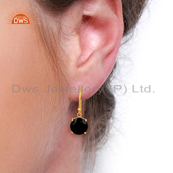 Wholesalers Black Onyx Flat Shape Pefect Drop 14K Gold Plated Wholesale 92.5 Silver Earring