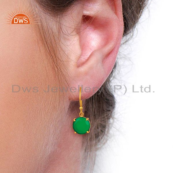 Wholesalers Green Onyx Flat Shape Pefect Drop 14K Gold Plated Wholesale 92.5 Silver Earring