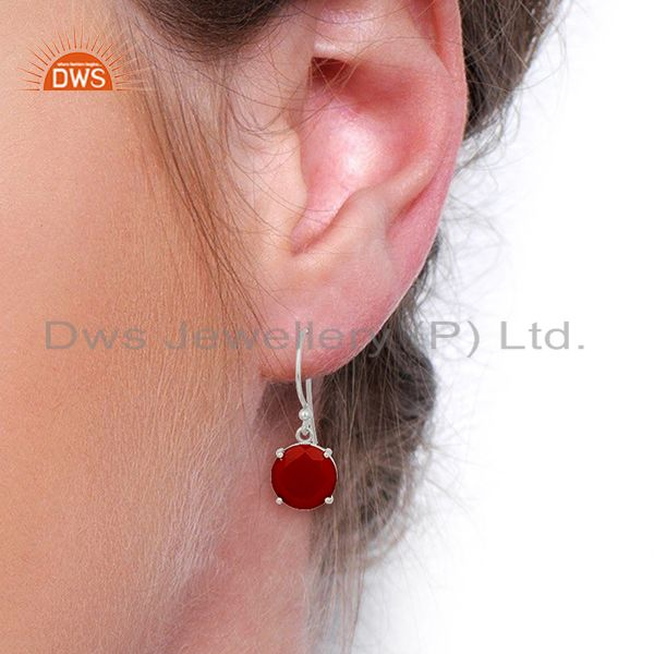 Wholesalers Red Onyx Flat Shape Pefect Drop High Finish Wholesale Sterling Silver Earrings