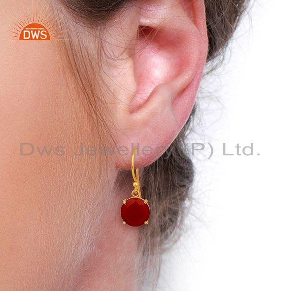 Wholesalers Red Onyx Flat Shape Pefect Drop 14K Gold Plated Wholesale 92.5 Silver Earring