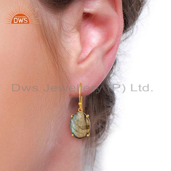 Wholesalers Labradorite Flat Shape Pefect Oval Drop 14K Gold Plated Wholesale Silver Earring