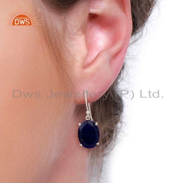 Wholesalers Lapis Flat Shape Pefect Oval Drop Wholesale 92.5 Sterling Silver Earring