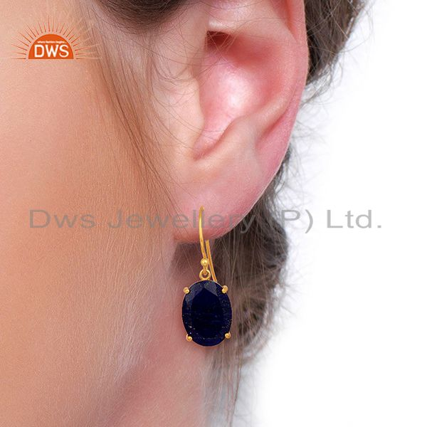 Wholesalers Lapis Flat Shape Pefect Oval Drop 14K Gold Plated Wholesale Silver Earring
