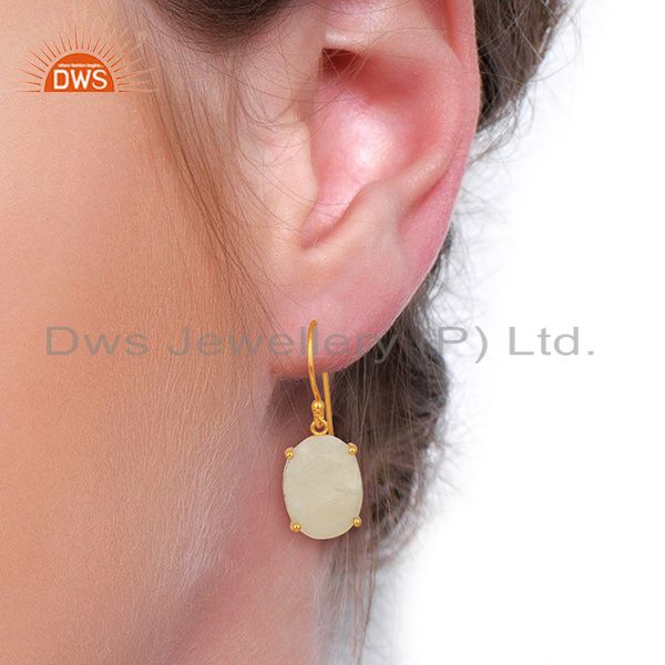 Wholesalers Moonstone Flat Shape Pefect Oval Drop 14K Gold Plated Wholesale Silver Earring