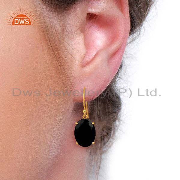 Wholesalers Black Onyx Flat Shape Pefect Oval Drop 14K Gold Plated Wholesale Silver Earring