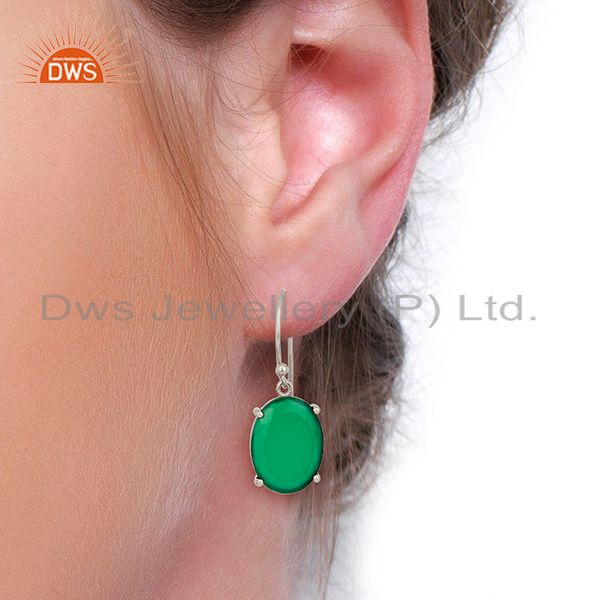 Wholesalers Green Onyx Flat Shape Pefect Oval Drop Wholesale 92.5 Sterling Silver Earring