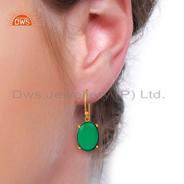 Wholesalers Green Onyx Flat Shape Pefect Oval Drop 14K Gold Plated Wholesale Silver Earring
