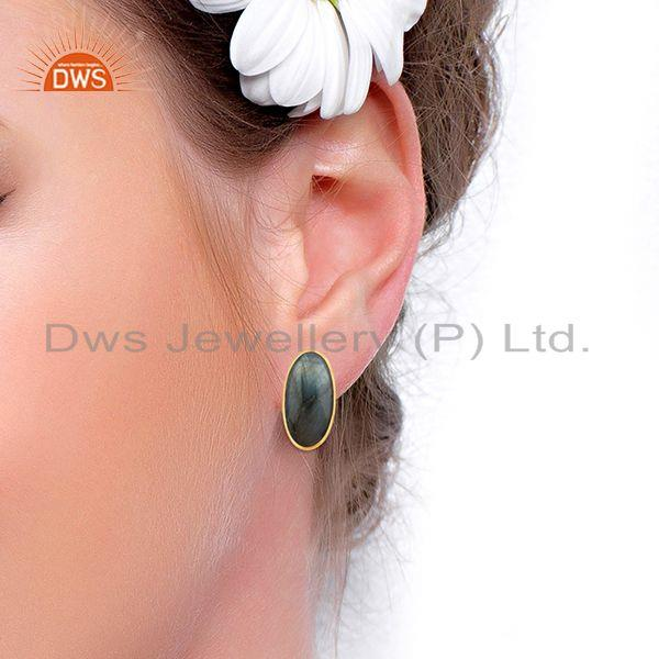 Wholesalers Natural Labradorite Gemstone 14k Gold Plated 925 Silver Stud Earring For Womens