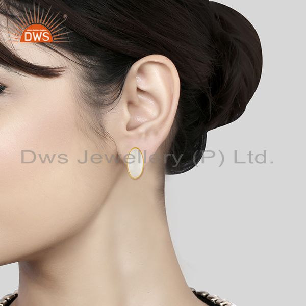 Wholesalers White Chalcedony Oval Bezel Set 925 Sterling Silver 14K Gold Plated Stud Earring