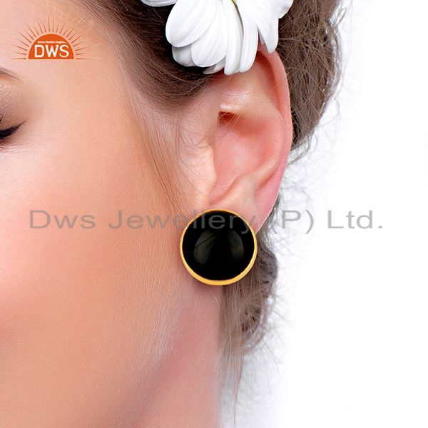 Wholesalers Black Onyx Round  Bezel Set 925 Sterling Silver 14K Gold Plated Stud Earring