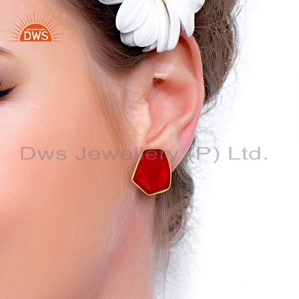 Wholesalers Natural Red Aventurine Unshape Bezel Set Sterling Silver 14K Gold Plated Stud