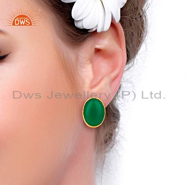 Wholesalers Green Onyx Oval  Bezel Set Sterling Silver Gemstone Jewellery Stud Earrings