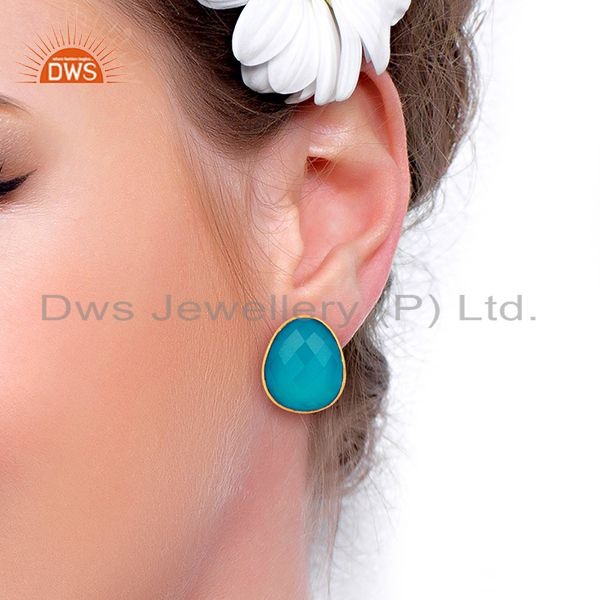 Wholesalers Blue Chalcedony Gemstone Faceted Egg Shape Bezel Set 925 Sterling Silver Studs
