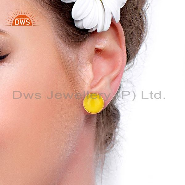Wholesalers Yellow Onyx Round  Bezel Set 925 Sterling Silver 18K Gold Plated Stud Earrings