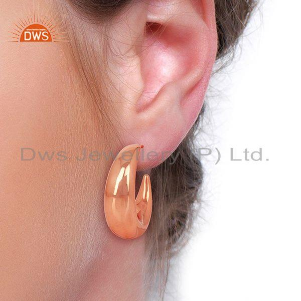 Wholesalers Large Hollow Half Hoop 925 Sterling Silver Rose Gold Plated Earrings