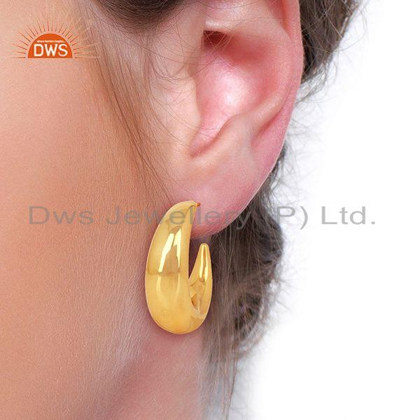 Wholesalers Large Hollow Half Hoop 925 Sterling Silver 14K Yellow Gold Plated Earrings