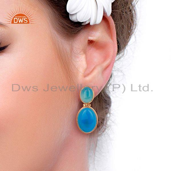 Wholesalers Rose Gold Plated 925 Silver Blue Chalcedony Gemstone Earrings Supplier