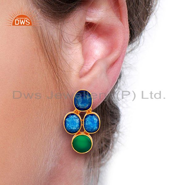 Wholesalers Green Onyx and Blue Aventurine Gemstone 925 Silver Earrings Supplier