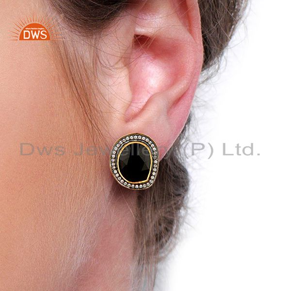 Wholesalers Natural Black Onyx Gemstone CZ Gold Plated Silver Stud Clip Earrings