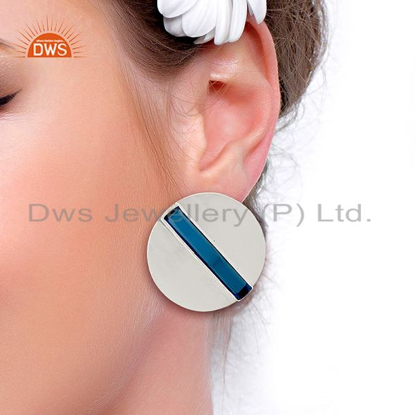 Wholesalers Corundum Blue Gemstone 925 Sterling Silver Stud Earrings Manufacturer