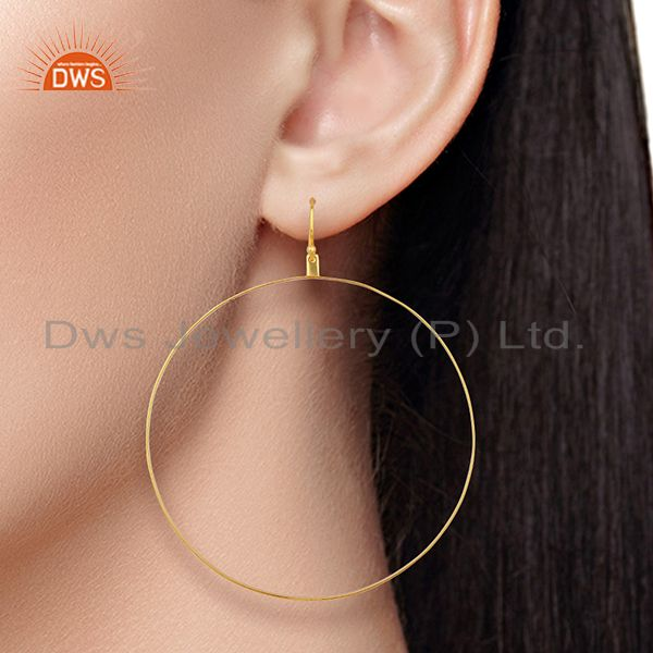 Wholesalers Gold Plated Circal Design Silver Girls Earring Jewelry Manufacturer