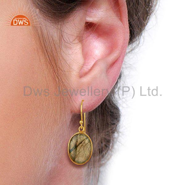 Wholesalers Labradorite Gemstone Gold Plated Silver Earrings Manufacturer Supplier