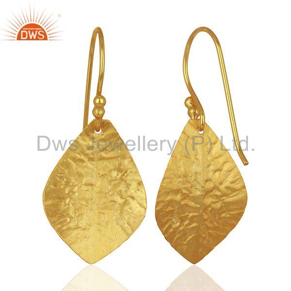 Wholesalers Textured Gold Plated Silver Designer Girls Earrings Jewelry Supplier