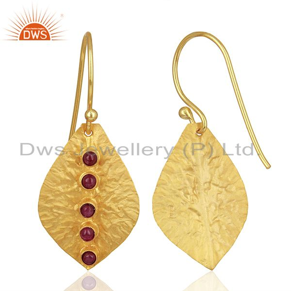 Wholesalers Leaf Design 925 Silver Gold Plated Natural Ruby Birthstone Earrings