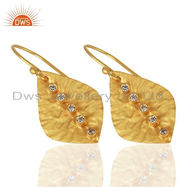 Wholesalers Leaf Design Gold Plated CZ Gemstone Girls Earrings Supplier Jewelry