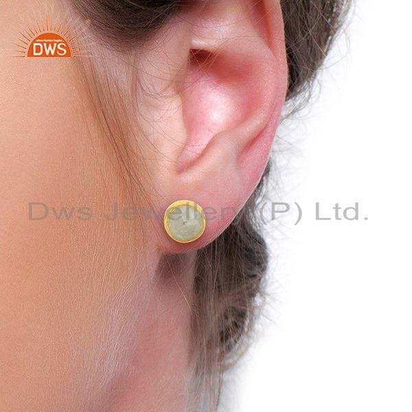 Wholesalers Rainbow Moonstone Gemstone Gold Plated Silver Stud Earring Manufacture
