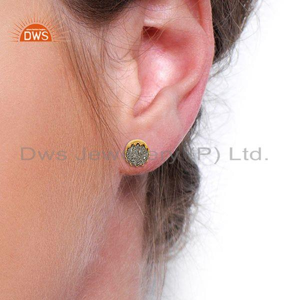 Wholesalers Silver Druzy Gemstone Gold Plated 925 Silver Round Stud Earrings