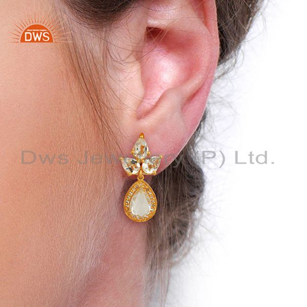 Wholesalers Yellow Gold Plated Silver White Topaz Crystal Quartz Gemstone Earrings