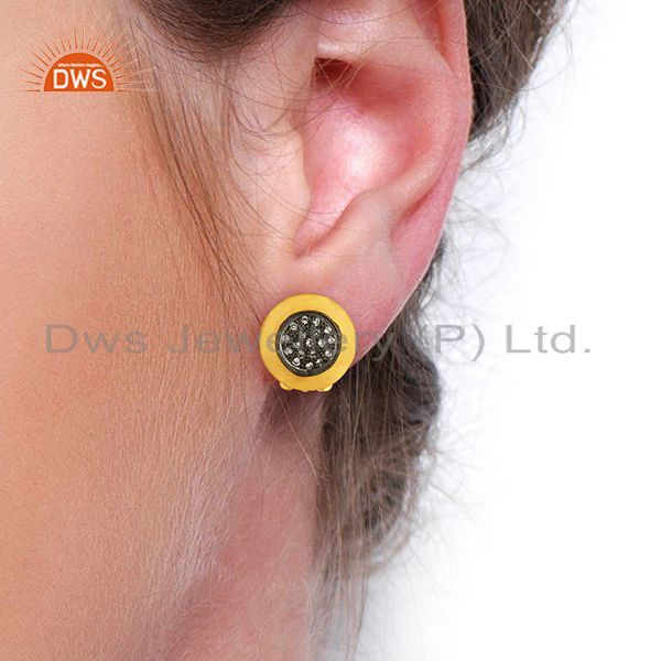 Wholesalers Gold Plated Sterling Silver White Zircon Gemstone Stud Earring Jewelry