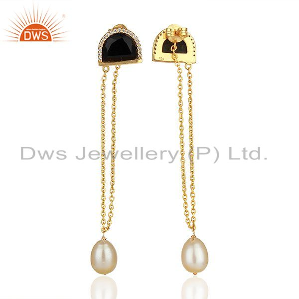 Wholesalers Black Onyx and White Pearl Gold Plated Silver Chain Earrings Jewelry