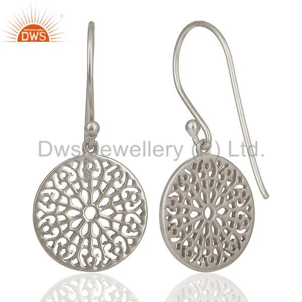 Wholesalers Gardens Inspired 925 Sterling Silver White Rhodium Plated Round Earring