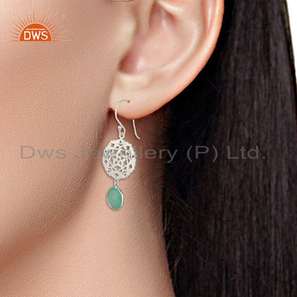 Wholesalers Designer 925 Silver Aqua Chalcedony Gemstone Drop Earring Manufacturer