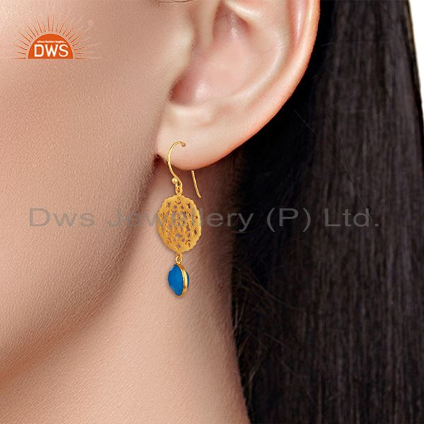 Wholesalers 925 Silver Gold Plated Designer Blue Chalcedony Gemstone Drop Earrings