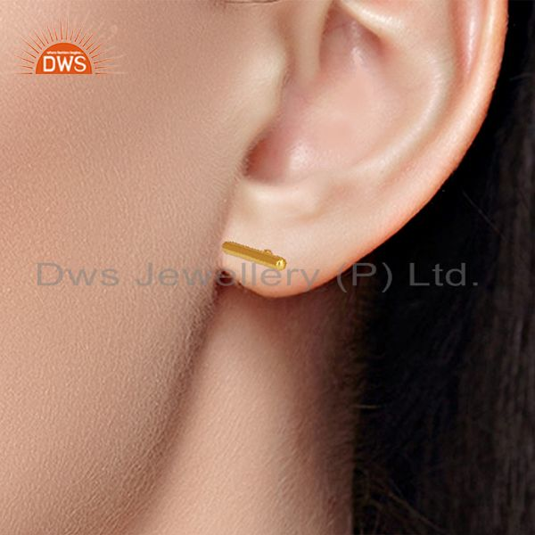 Wholesalers Solid Sterling Silver Gold Plated Bar Stud Earrings Manufacturers