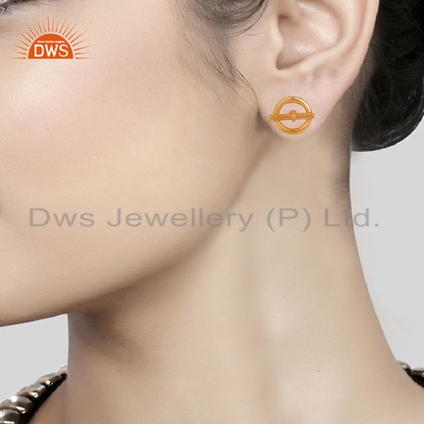 Wholesalers Mini Chaine d Ancre 925 Sterling Silver 18k Gold Plated Stud Earrings Jewelry