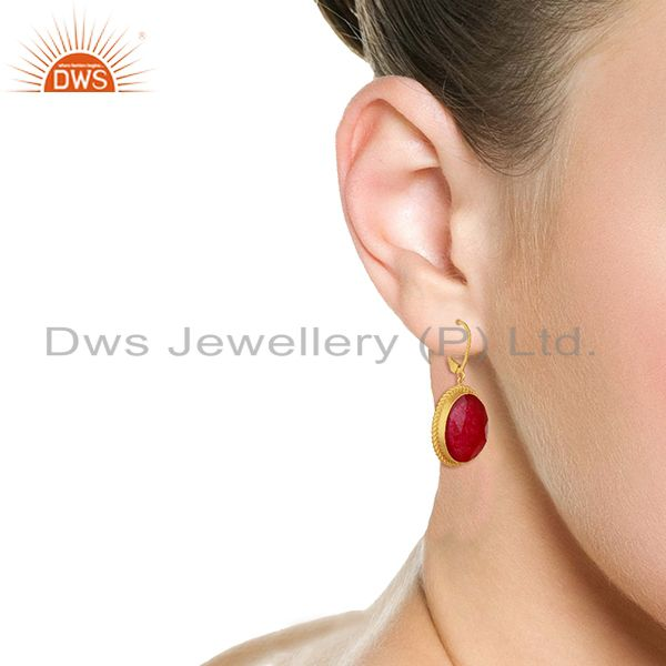 Wholesalers Handcrafted 925 Silver Gold Plated Aventurine Red Gemstone Earrings