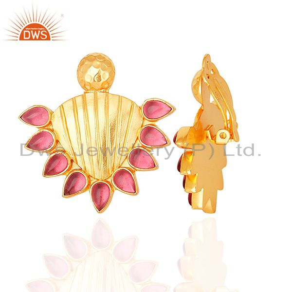 Wholesalers Handmade Gold Plated 925 Silver Pink Gemstone Stud Earring Supplier