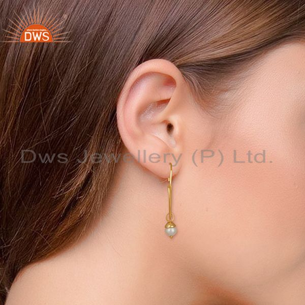 Wholesalers Fresh Watar Pearl 925 Silver Gold Plated Party Earrings Manufacturers