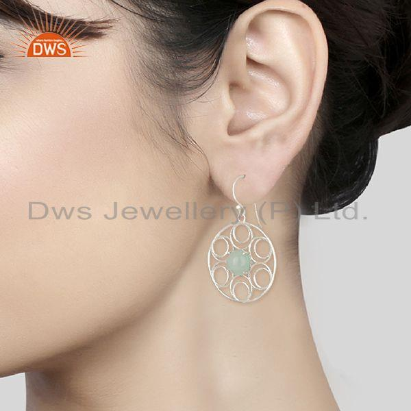Designers of Aqua chalcedony gemstone 925 sterling silver earring manufacturers