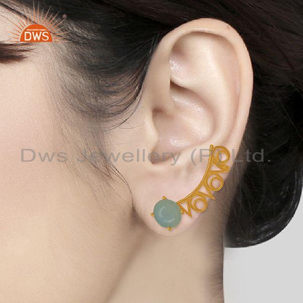 Designers of Trendy gold plated 925 silver chalcedony gemstone ear cuff earrings