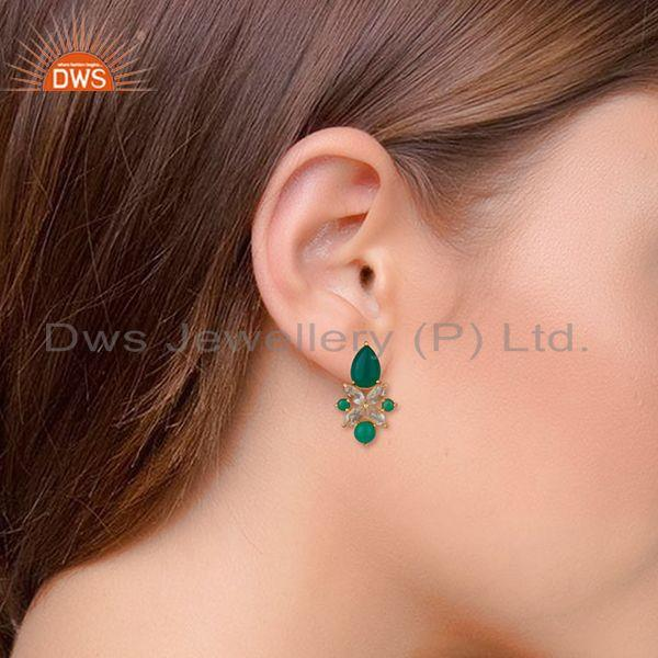 Wholesalers Green Onyx Gemstone 925 Silver Gold Plated Stud Earrings Jewelry