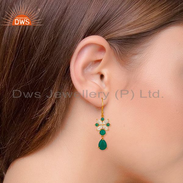 Wholesalers Handmade Gemstone 925 Silver Gold Plated Earrings Jewelry Wholesale