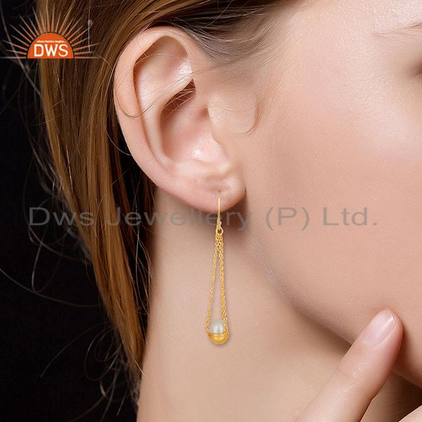 Wholesalers Natural Pearl Gold Plated Solid 925 Silver Chain Earrings Manufacturer