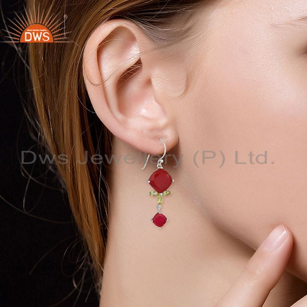 Wholesalers Dyed Ruby and Peridot Gemstone 925 Silver Dangle Earrings Wholesale
