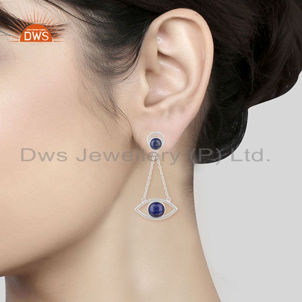Wholesalers Handmade 925 Silver Lapis Lazuli Gemstone Chain Earrings Manufacturer