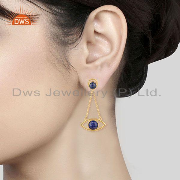 Wholesalers Gold Plated 925 Silver Gold Plated Chain Lapis Gemstone Earring